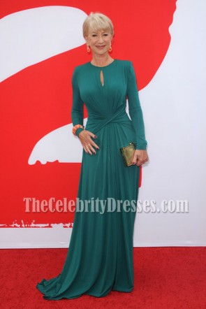 Helen Mirren Green Long Sleeve Formal Dress 'RED 2′ LA Premiere Red Carpet Gown 3