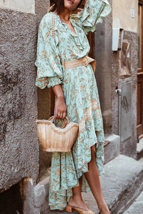 High Low Ruffled Floral Dress