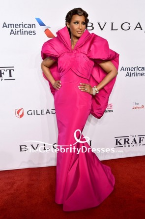Iman Fuchsia Mermaid Evening Dress 2018 Elton John AIDS Foundation Red Carpet