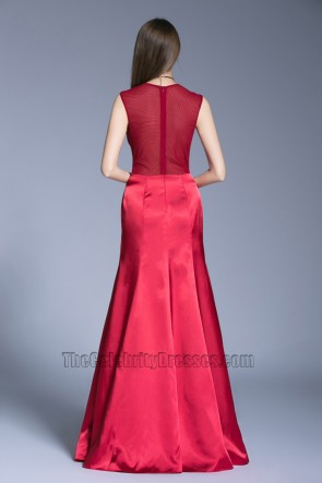 New Long Red Evening Dress Wedding See Through Back Prom Gown TCDBF5016