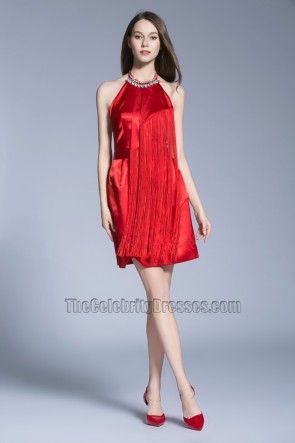 New Short Mini Red Evening Dress Halter Backless Party Prom Gown 1