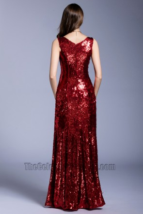 Women's New Sequins Evening Dress V-neck Party Club Ball Gown TCDBF5034