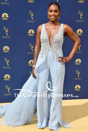 Issa Rae Baby Blue Deep V-neck Jumpsuit 2018 Emmys