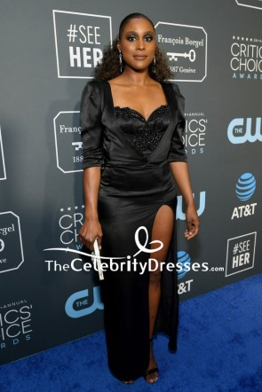 Issa Rae Black Beaded Thigh-high Slit Evening Dress 2019 Critics' Choice Awards