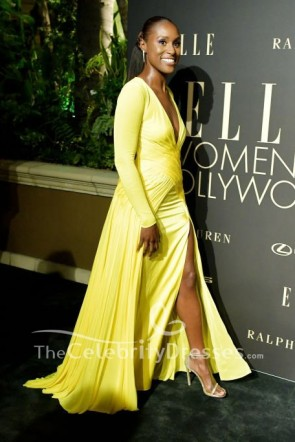 Issa Rae Plunging V-neck Yellow Evening Dress 2019 Elle Women in Hollywood celebration TCD8791