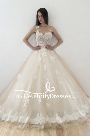 Ivory Applique Wedding Ball Gown
