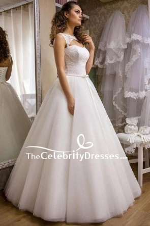 Ivory Cut Out A-line Lace Wedding Ball Gown