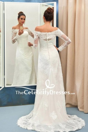 Ivory Off-the-shoulder Applique Prom Dress With Long Sleeves