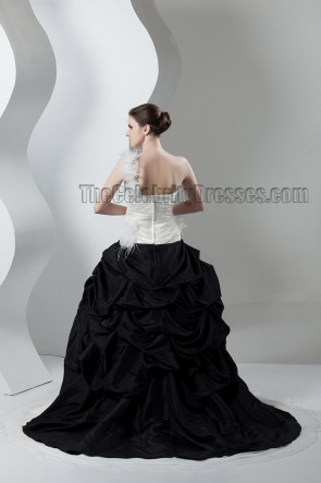 Ivory And Black One Shoulder A-Line Wedding Dresses