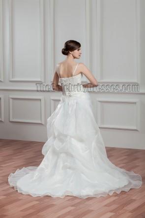 Ivory Spaghetti Straps Beaded Organza Wedding Dress
