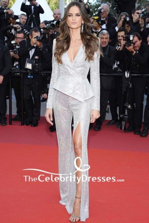 Izabel Goulart Silver Sequins Low V-neck Evening Suit 2019 Cannes Film Festival