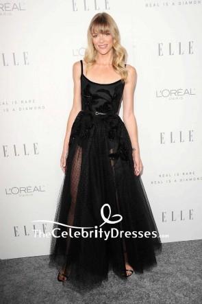 Jaime King Black Sheer Tulle Beaded Evening Dress lle's Women in Hollywood Celebration