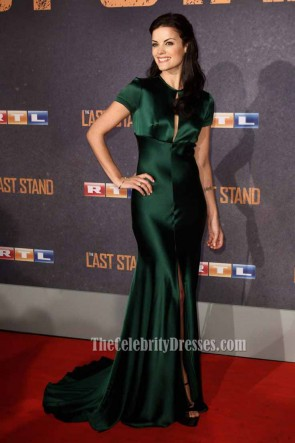 JaimieJaimie Alexander Satin Bias Cut Gown Dark Green Formal Evening Dress