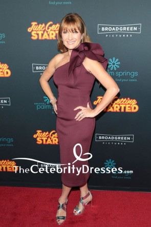 Jane Seymour Plum One-shoulder Cocktail Dress  Premiere of Just Getting Started