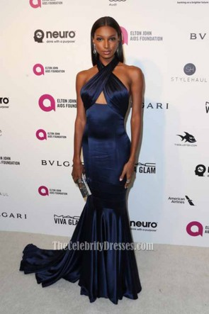 Jasmine Tookes 24th Annual Elton John AIDS Foundation's Oscar Viewing Party Nave Blue  Halter Formal Mermaid Dress  1