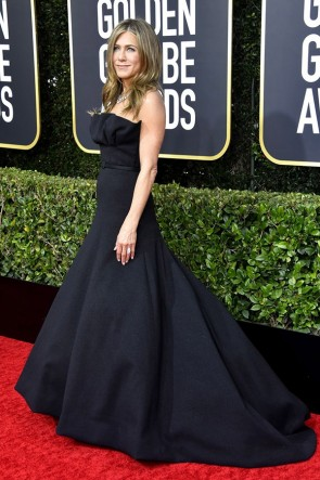 Jennifer Aniston Black Strapless Ball Gown 2020 Golden Globes TCD8812