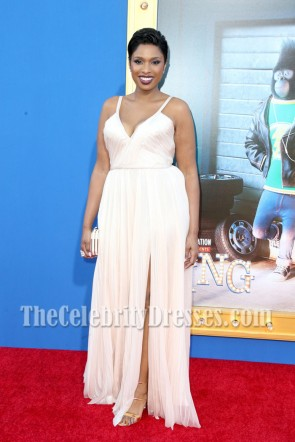 Jennifer Hudson White Spaghetti Strap Evening Prom Gown Premiere of 'Sing'