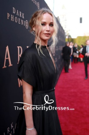 Jennifer Lawrence Black  Deep V-neck Evening Dress 2019 Premiere of 'Dark Phoenix' TCD8542