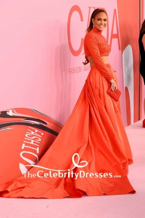 Jennifer Lopez Orange Two Pieces Evening Dress With Sleeves 2019 CFDA Fashion Awards TCD8544