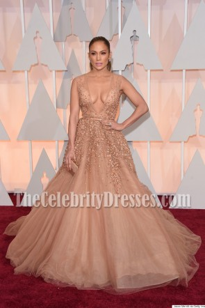Jennifer Lopez's Deep V-neck Ball Gown In Oscars 2015 Shows  4