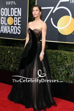 ジェシカビールブラックストラップレスの恋人のイブニングドレス2018ゴールデングローブ賞レッドカーペット