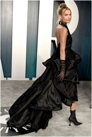 Josephine Skriver Black Halter Cut Out Formal Dress 2020 Vanity Fair Oscar Party
