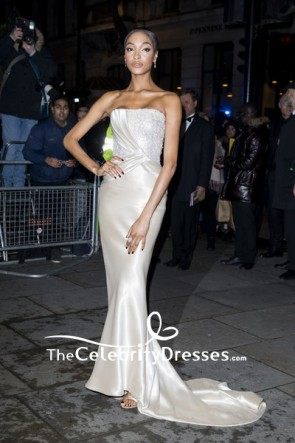 Jourdan Dunn Ivory Strapless Beaded Evening Dress 2019 Portrait Gala