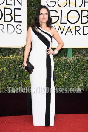 Julia Louis-dreyfus White And Black One-shoulder Evening Dress 2017 Golden Globe Awards  Red Carpet Gown