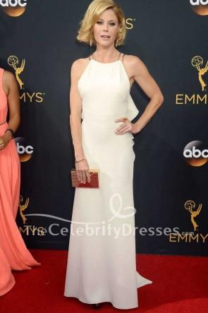Julie Bowen White Ruffled Long Evening Formal Dress 2016 Emmy Awards Red Carpet Gown