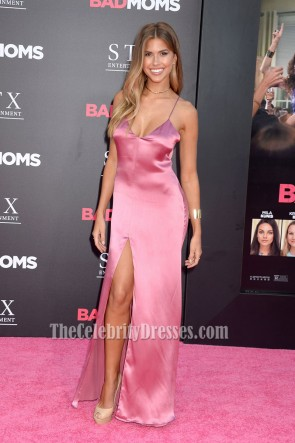 Kara Del Toro Pink Backless Spaghetti Straps Evening Prom Gown 'Bad Moms' Premiere 3