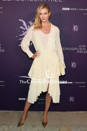 Karlie Kloss Ivory V-neck Shirtdress Berggruen Prize