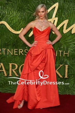 Karlie Kloss Red Strapless Ball Gown British Fashion Awards 2017 Red Carpet
