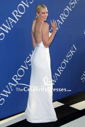 Karlie Klossホワイト太もも - 高スリットコラムドレス2018 CFDAファッション賞