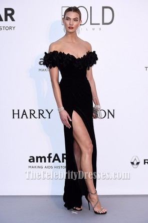 Karlie Klossブラックオフショルダーフォーマルドレス2016年セレブリティドレス