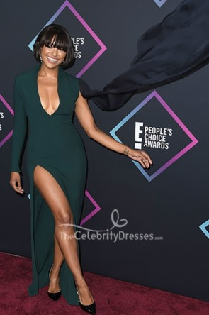 Kat Graham Dark Green V-neck Dress People's Choice Awards TCD8759