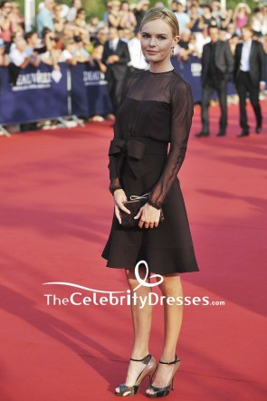 Kate Bosworth Little Black Dress With Long Sleeves 2011 Deauville Film Festival Opening Ceremony