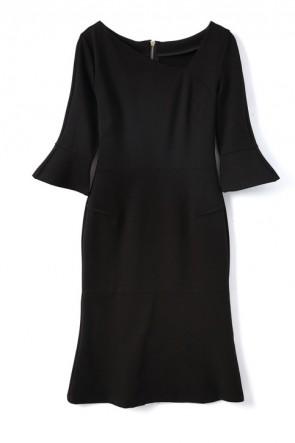 袖付きケイトミドルトンブラックカクテルドレス