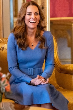 Kate Middleton Blue Dress With Sleeves