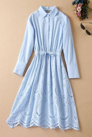 Kate Middleton Blue Turndown Collar Shirt Midi Dress