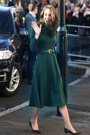 Kate Middleton Dark Green Cocktail Dress With Long Sleeves