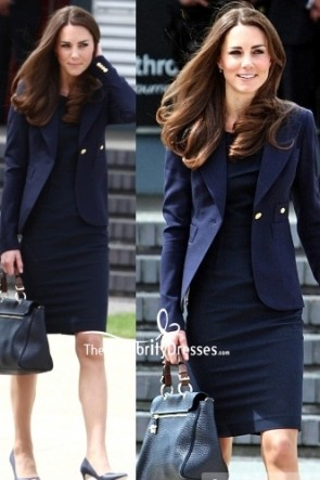 Kate Middleton Dark Navy Blazer With Short Dress