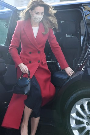 Kate Middleton Dark Red Woolen Coat 2020