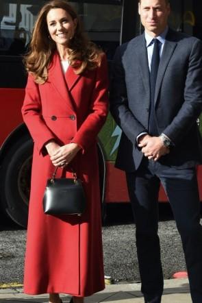 Kate Middleton Dark Red Woolen Coat 2020