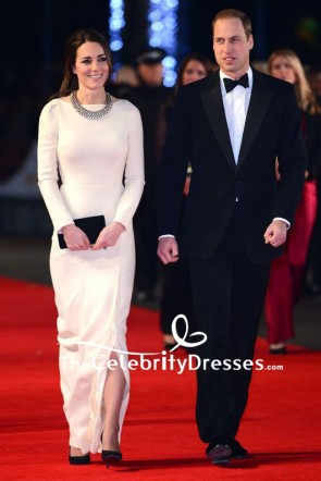 Kate Middleton Ivory Long Evening Formal Dress With Long Sleeves Royal film performance 2013