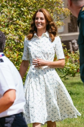 Kate Middleton Printed Short Shirt Dress