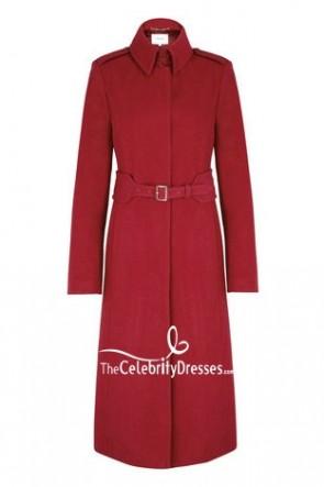 ケシの魅力のための長袖のケイトミドルトンの赤いコート