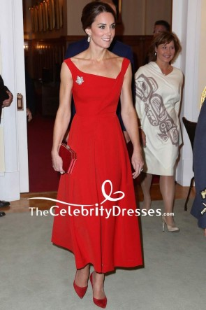 Kate Middleton Red Cocktail Dress For Canadian Reception