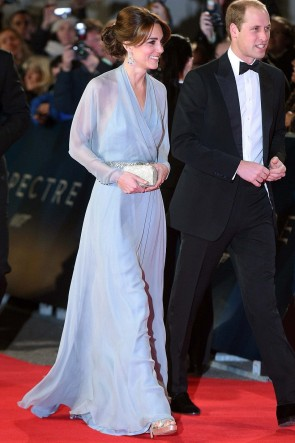 Kate Middleton Sky Blue Evening Dress SPECTRE London Premiere