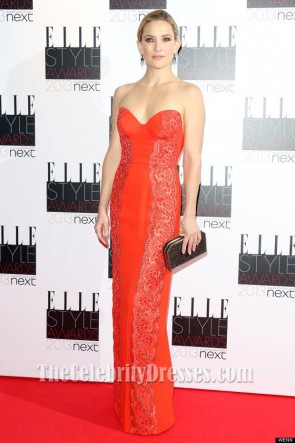 Kate Hudson Orange Red Prom Dress 2013 Elle Style Awards Red Carpet
