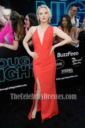 Kate McKinnon Red Spaghetti Straps Deep V- neck Sheath Dress Rough Night Premeire